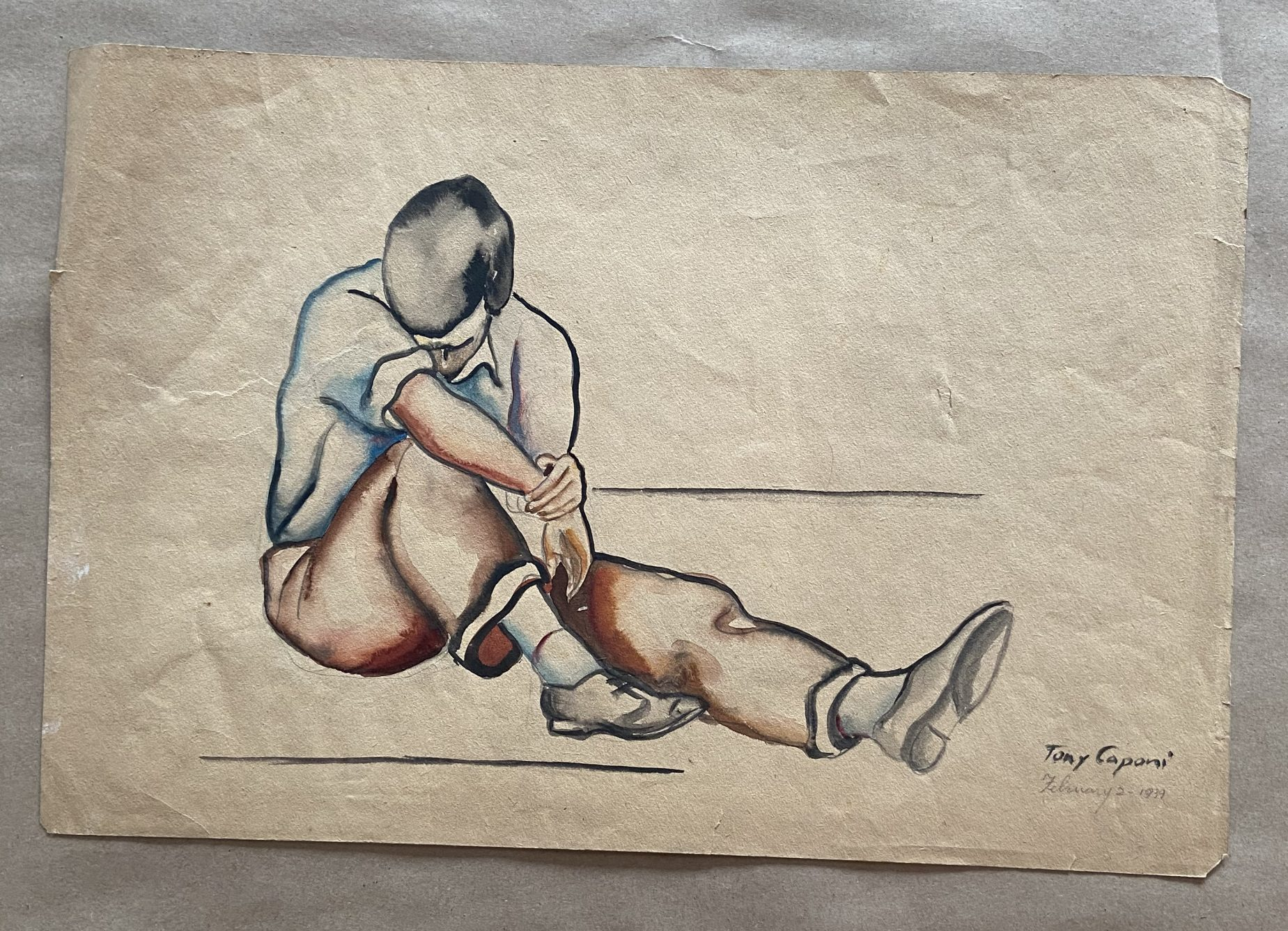 A watercolor drawing of a male human