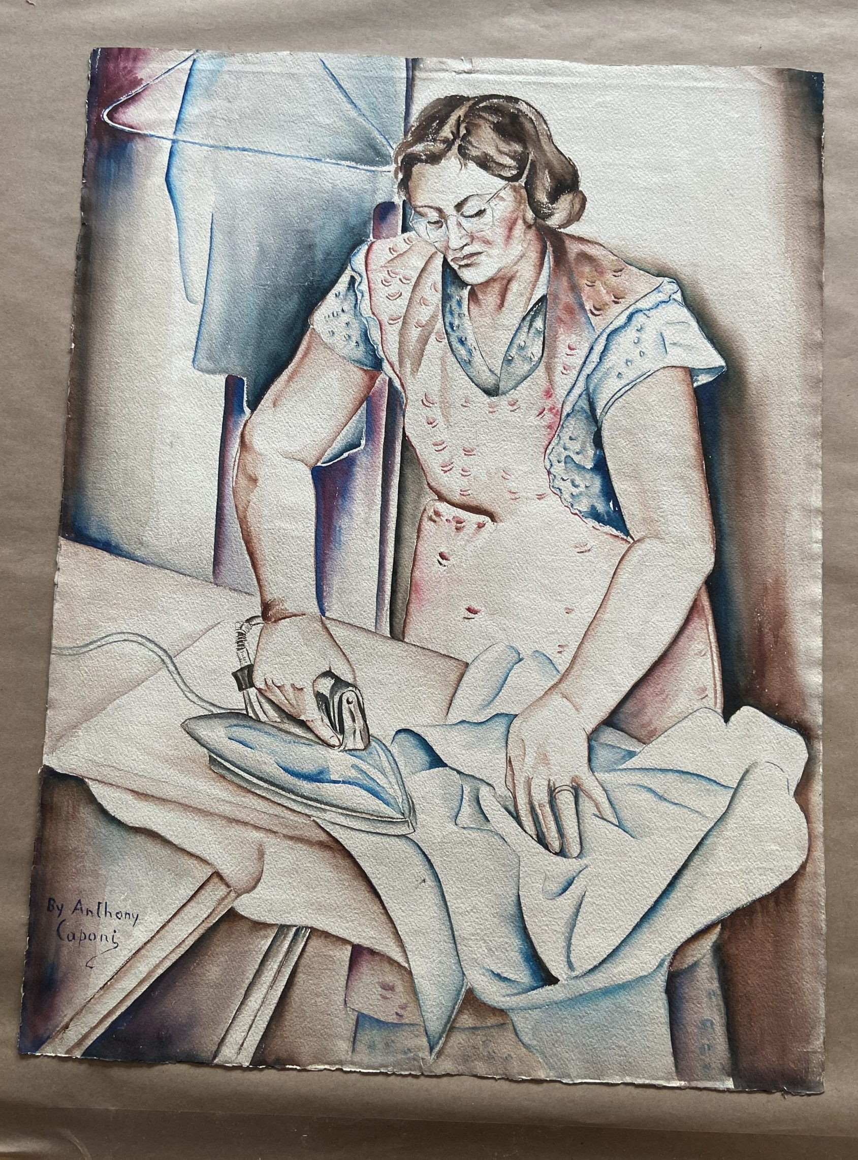 A watercolor painting of a woman ironing a shirt