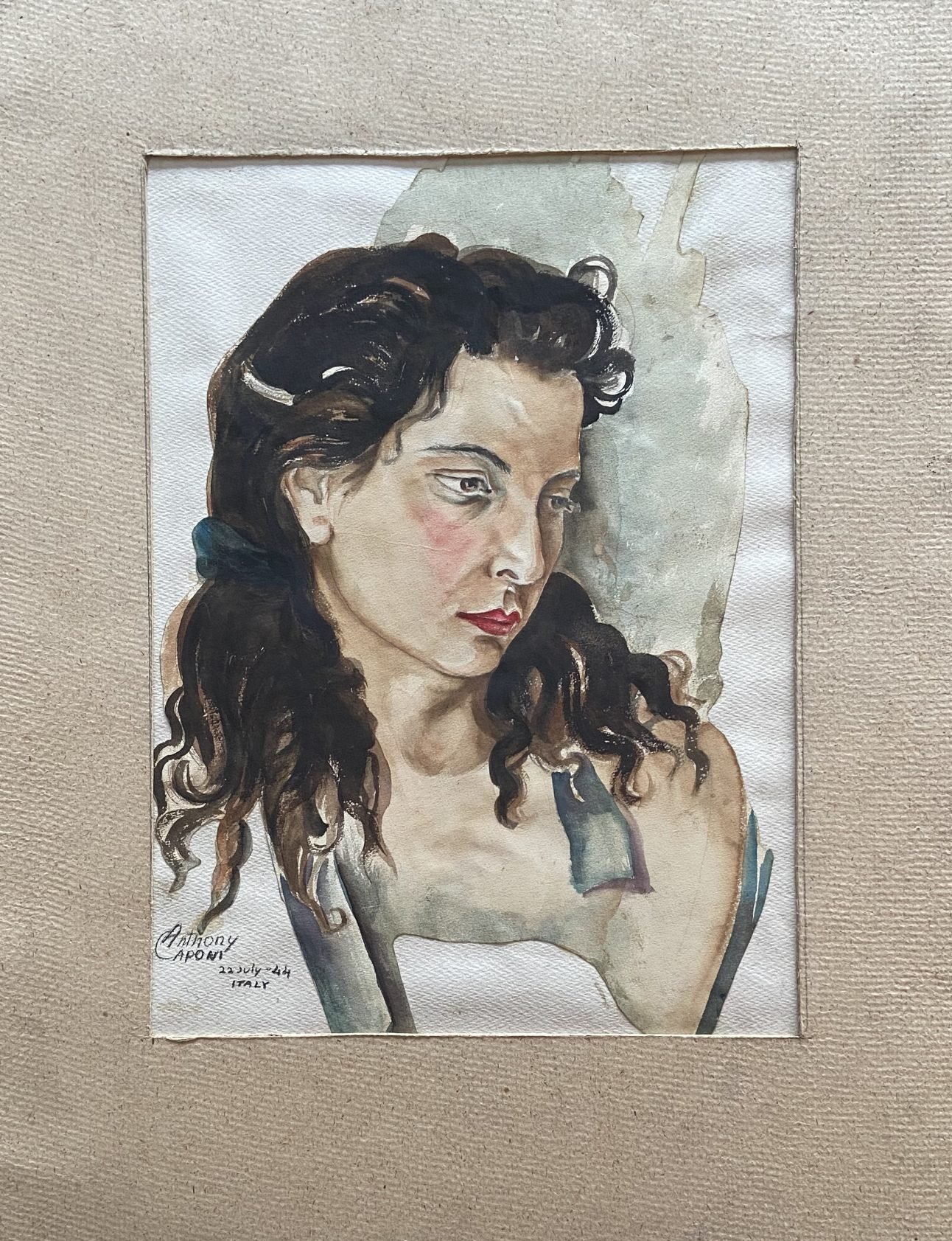 A watercolor painting of a woman looking to the right