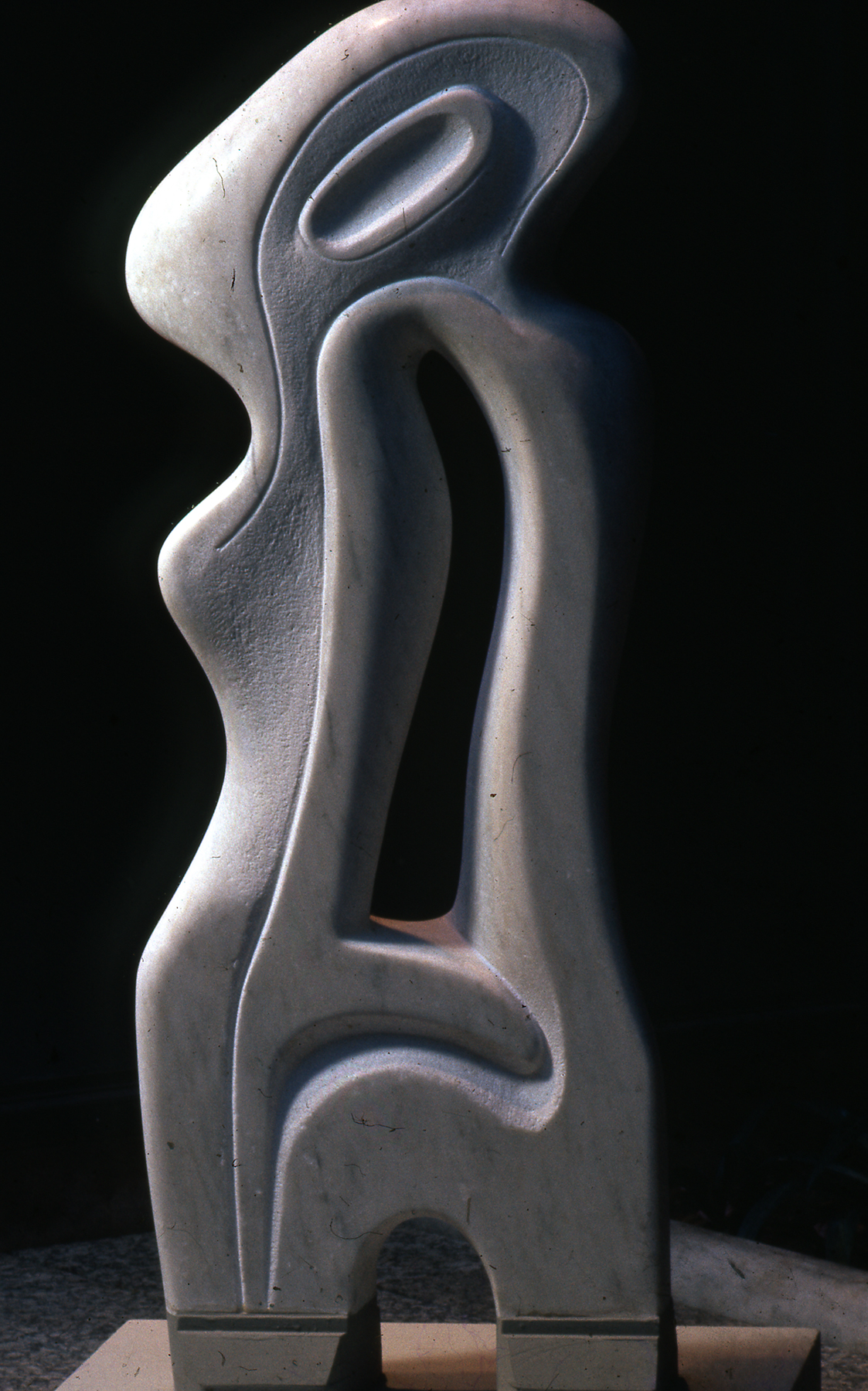 A smooth abstract figure in marble